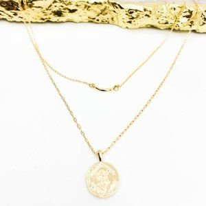Layered Coin Charm Bar Necklace